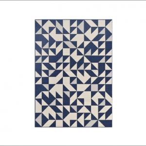 Angela Pinheiro Carpete Broadway Triangulos Azul e Branco