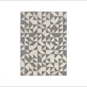 Angela Pinheiro Carpete Broadway Triangulos Cinza e Branco