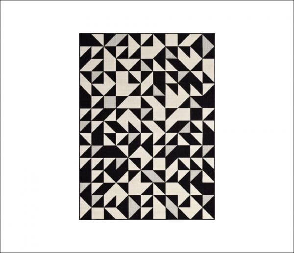 Angela Pinheiro Carpete Broadway Triangulos Preto e Branco