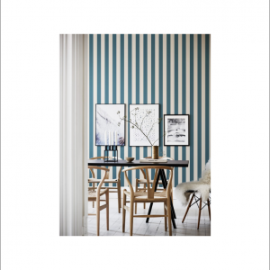 Angela Pinheiro Papel Parede Sand Berg Scandinavian Stripes William Azul Perspectiva